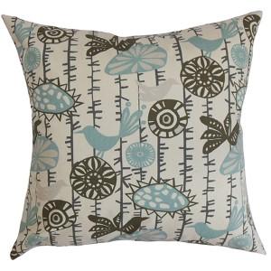 Nettle Blue 18 x 18 Floral Throw Pillow