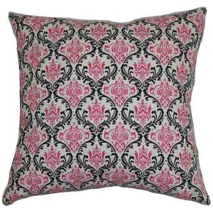Paulomi Pink and Black 18 x 18 Patterned Throw Pillow