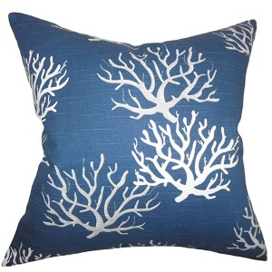 Hafwen Navy Blue 18 x 18 Coastal Throw Pillow