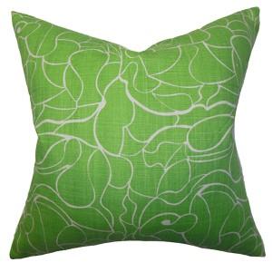 Eames Green 18 x 18 Floral Throw Pillow