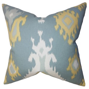 Djuna Light Blue 18 x 18 Ikat Throw Pillow