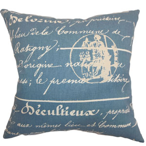 Saloua Typography Pillow Denim Natural