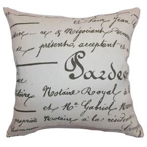 Saloua Typography Pillow Village Blue Natural