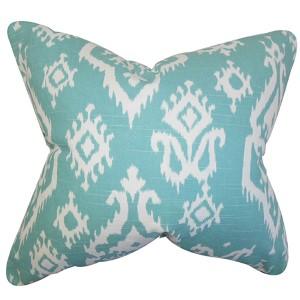 Baraka Blue 18 x 18 Ikat Throw Pillow