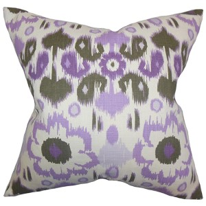 Querida Purple 18 x 18 Patterned Throw Pillow