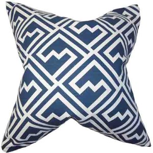 Ragnhild Navy 18 x 18 Geometric Throw Pillow