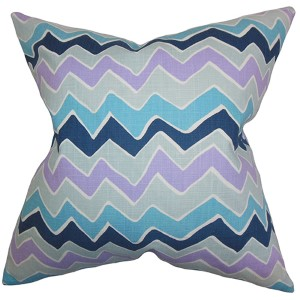 Achsah Purple and Blue 18 x 18 Zigzag Throw Pillow