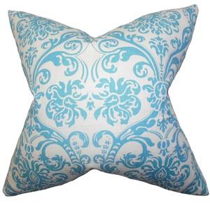 Saskia Blue 18 x 18 Patterned Throw Pillow