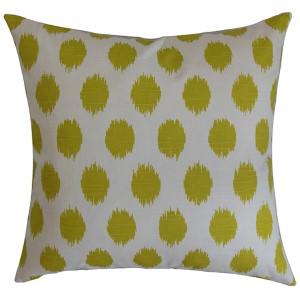 Kaintiba Green Slub 18 x 18 Patterned Throw Pillow