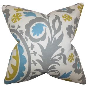 Wella Blue 18 x 18 Floral Throw Pillow