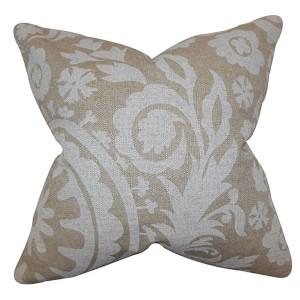 Wella Neutral 18 x 18 Floral Throw Pillow
