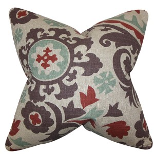 Wella Red 18 x 18 Floral Throw Pillow