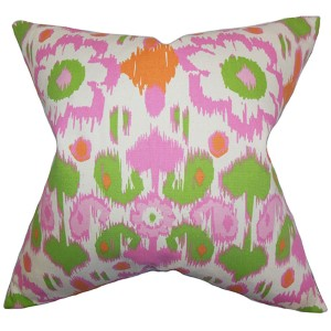 Querida Green and Pink 18 x 18 Patterned Throw Pillow