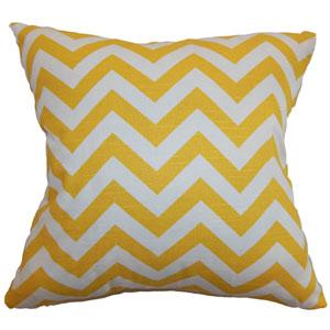 Xayabury Zigzag Pillow Yellow White Slub