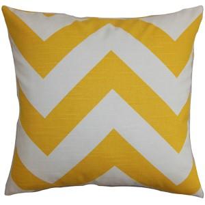 Eir Yellow 18 x 18 Zigzag Throw Pillow