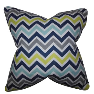 Howel Blue and Green 18 x 18 Zigzag Throw Pillow