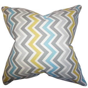 Howel Gray and Blue 18 x 18 Zigzag Throw Pillow