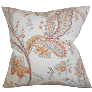 Dilys Orange 18 x 18 Floral Throw Pillow
