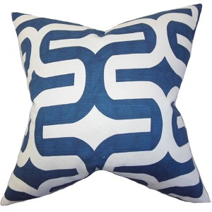 Jaslene Blue 18 x 18 Geometric Throw Pillow