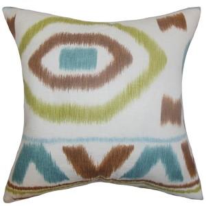 Rivka White and Green 18 x 18 Geometric Throw Pillow