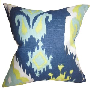 Djuna Blue and Green 18 x 18 Ikat Throw Pillow