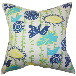 Nettle Yellow 18 x 18 Floral Throw Pillow