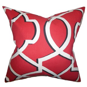 Curan Red 18 x 18 Geometric Throw Pillow