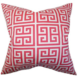 Paros Pink 18 x 18 Patterned Throw Pillow