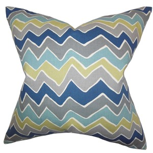 Achsah Gray and Blue 18 x 18 Zigzag Throw Pillow