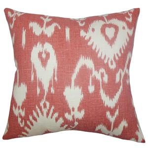 Cleon Red 18 x 18 Ikat Throw Pillow