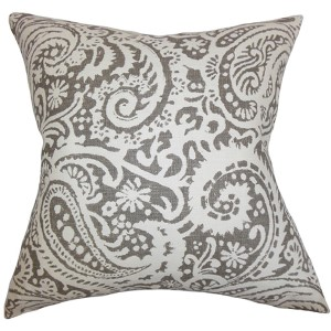 Nellary Ash Gray 18 x 18 Paisley Throw Pillow