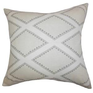 Alaric Oyster 18 x 18 Geometric Throw Pillow