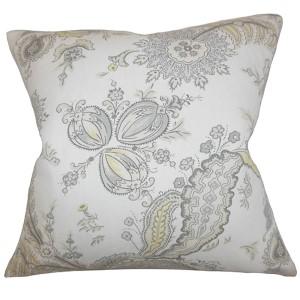 Dilys Gray 18 x 18 Floral Throw Pillow