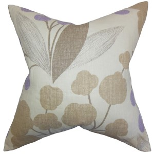 Geneen Purple 18 x 18 Floral Throw Pillow