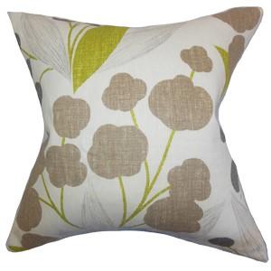 Geneen Green 18 x 18 Floral Throw Pillow