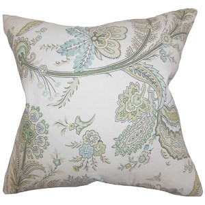 Dilys Green 18 x 18 Floral Throw Pillow