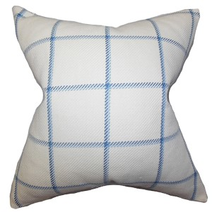 Wilmie Blue 18 x 18 Plaid Throw Pillow