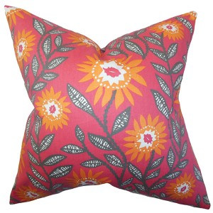 Leena Pink and Orange 18 x 18 Floral Throw Pillow