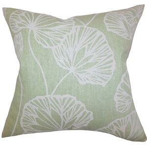 Fia Green 18 x 18 Floral Throw Pillow