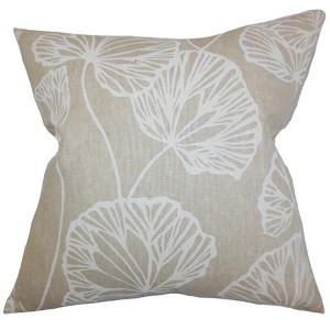 Fia Neutral 18 x 18 Floral Throw Pillow