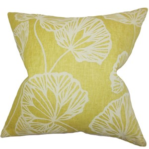 Fia Yellow 18 x 18 Floral Throw Pillow