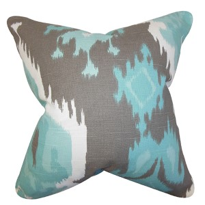 Djuna Blue and Gray 18 x 18 Ikat Throw Pillow