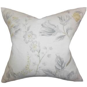 Ivria Gray 18 x 18 Floral Throw Pillow