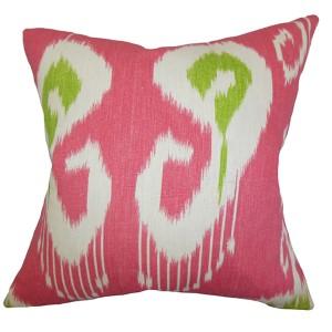 Cleon Pink 18 x 18 Ikat Throw Pillow