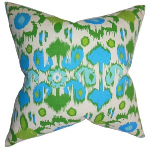 Querida Blue 18 x 18 Patterned Throw Pillow