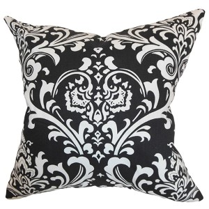 Malaga Black 18 x 18 Patterned Throw Pillow