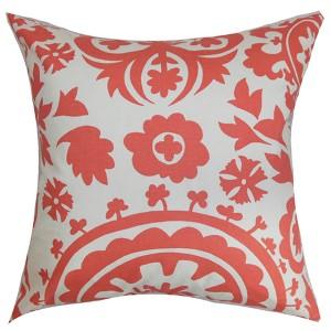 Wella White 18 x 18 Floral Throw Pillow