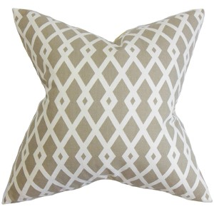 Tova Neutral 18 x 18 Geometric Throw Pillow
