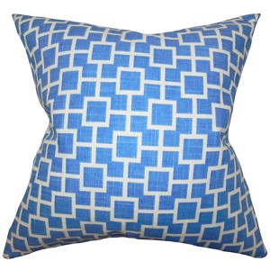 Janka Blue 18 x 18 Geometric Throw Pillow