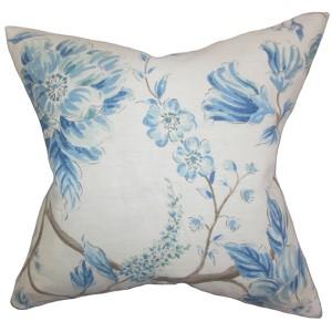 Ivria Blue 18 x 18 Floral Throw Pillow